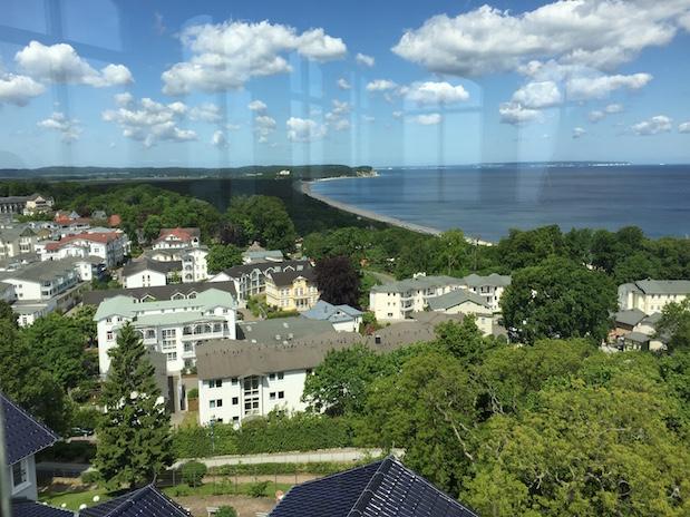 Blick vom Aussichtsturm im Hotel Hanseatic in Göhren auf Rügen