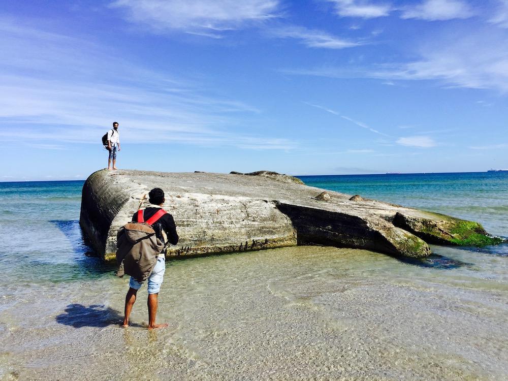 Im Meer versunkene Bunkeranlage in Skagen
