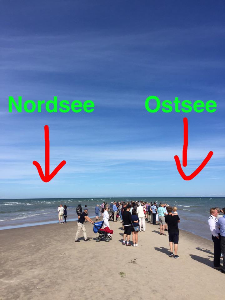 In Grenen treffen Nordsee und Ostsee aufeinander