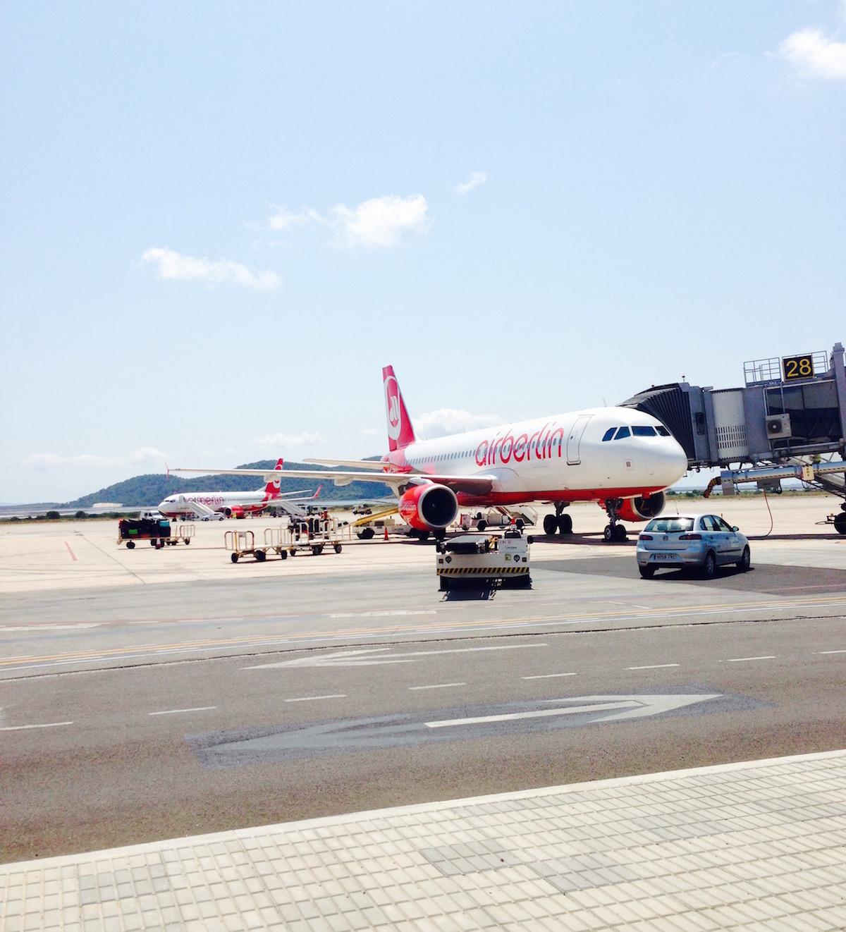 Air Berlin-Flugzeuge auf dem Flughafen Ibiza