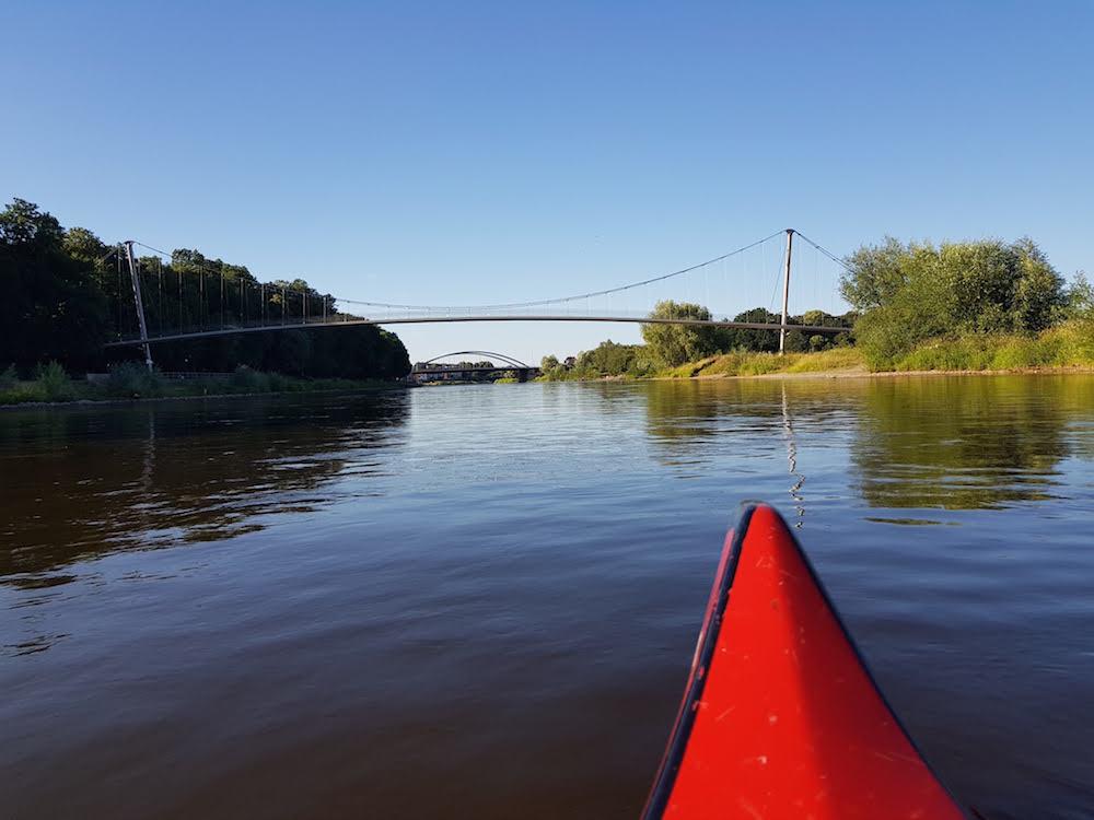 Kanutour auf der Weser: Ankunft in Minden