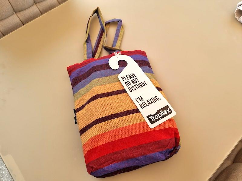 Die Hängematte wird in dieser schönen Tasche geliefert